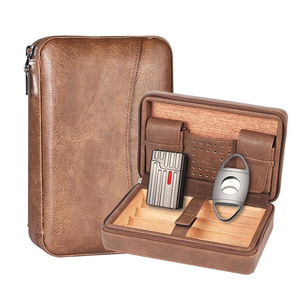 Portable Cigar Humidor Box Travel Leather Cigars Case Cedar Wood Cigars Set W Lighter Cigar Cutter Holder Humidifier Bag enlarge