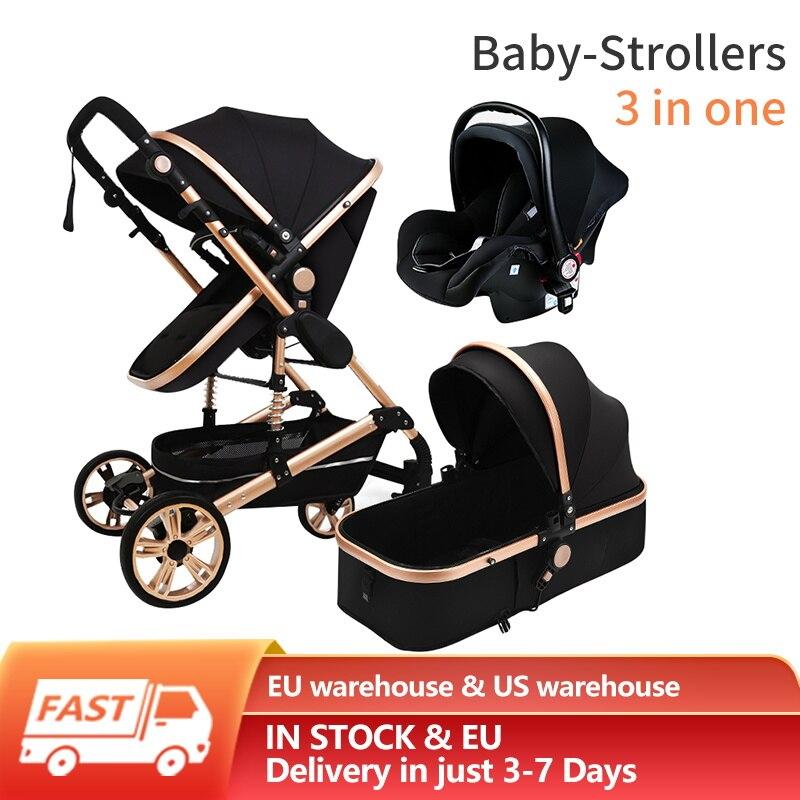 High Landscape Stroller Baby Stroller 3 in 1 Luxury Newborn Baby Strollers Folding Strollers Baby Trolley Baby Pram enlarge