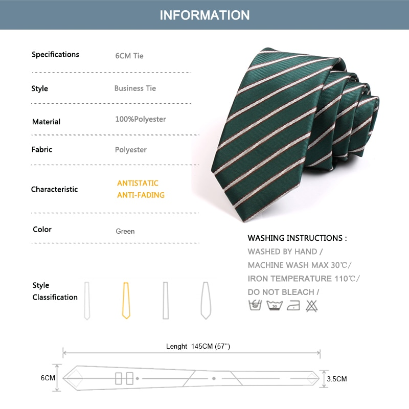 2020 New High Quality Green Striped Ties for Men 6cm Necktie Wedding Party Work Neck Tie Mens Classic Business Ties Gift Box