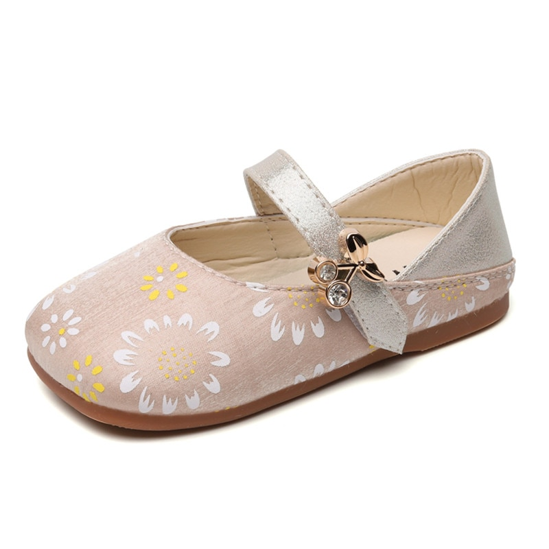Little Girls Shoes Princess Sweet Kids Flats Children Leather Shoes For Casual Formal Flowers Printed Cute Square Toes Soft New