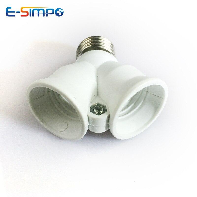 1 pçs e27 a 2e27 material à prova de fogo suporte da lâmpada conversor soquete luz de conversão base tipo y forma divisor adaptador