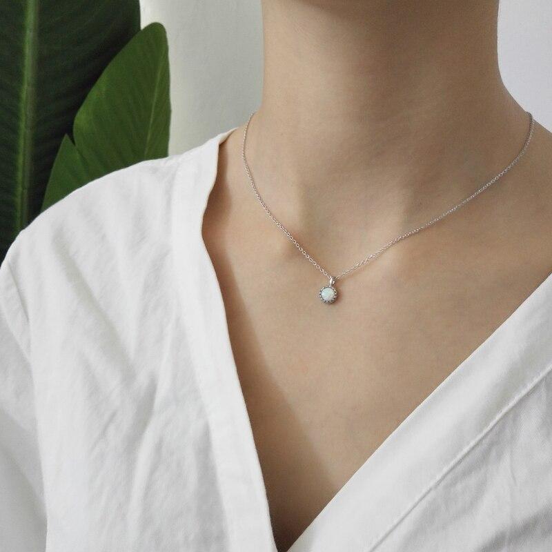 925 prata esterlina australian opala colar pingente venda feminina gargantilha para jóias de casamento design coreano colar