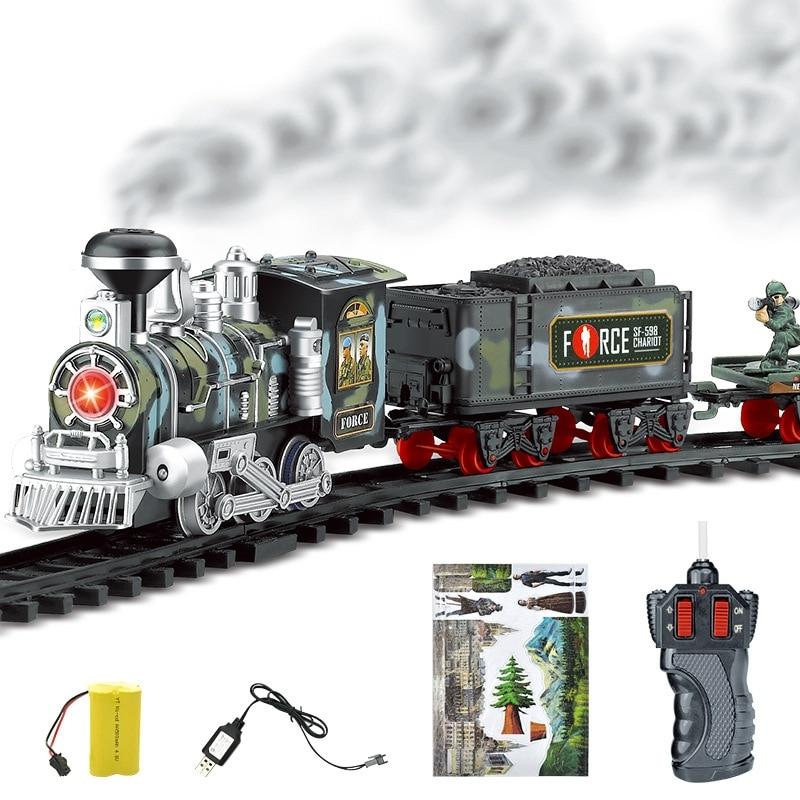 Modelo de simulación de tren de pista de humo de vapor eléctrico para coche de carril de transporte RC