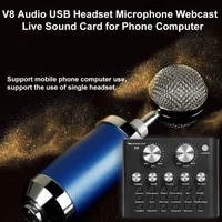 live sound card tuner v8 audio external usb headset microphone live broadcast sound card for mobile phone computer pc