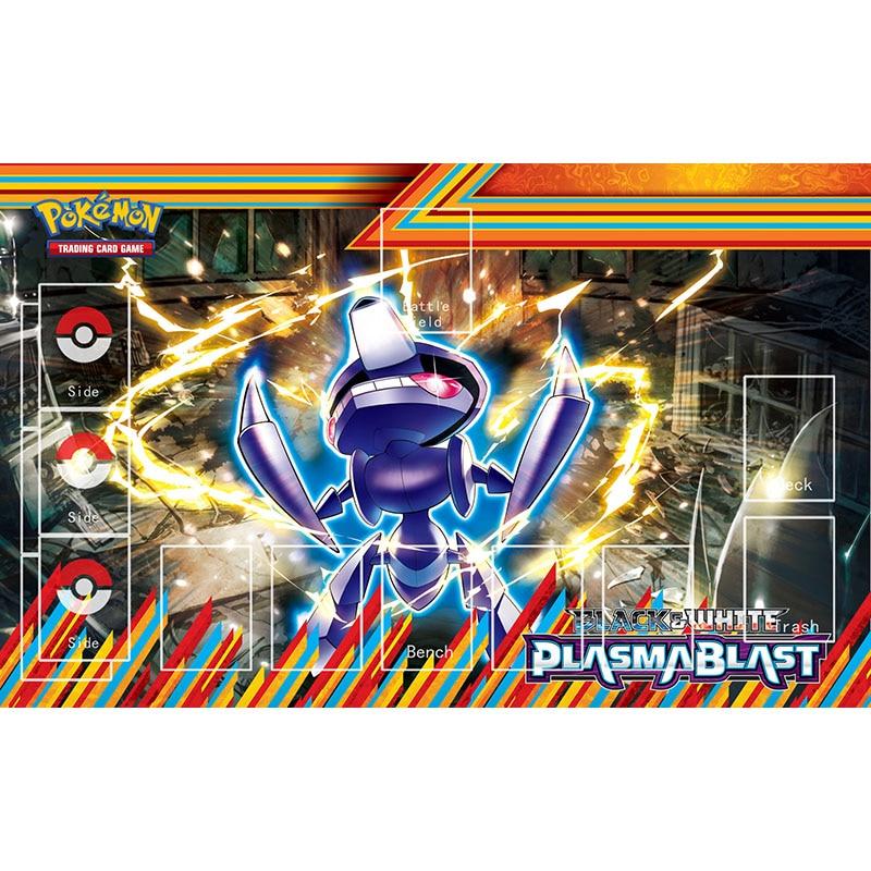 Playmat pokemon negociação jogo de cartas plasma explosão série esteira jogos de mesa gamer mousepad brinquedos para crianças