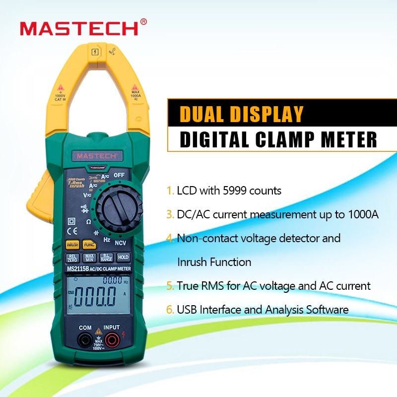 MASTECH MS2115B الرقمية فك التيار الكهربائي متر التيار المتناوب/تيار مستمر الجهد الحالي 6000 التهم NCV trms USB المشبك متر mulitimeter فاحص 1000A