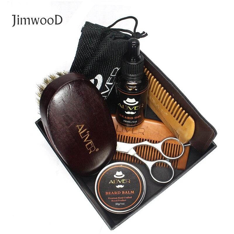 Jimwood 6pcs/set Men Beard Barba Grooming Beard Set Beard Oil Moisturizing Wax Blam Comb Essence Styling Scissors Hair no box