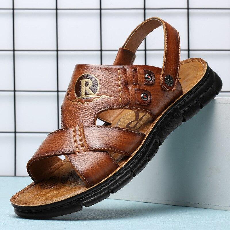 Zapatos de verano para hombre, sandalias de cuero auténtico, sandalias clásicas suaves, sandalias romanas cómodas para hombre, calzado de playa para hombre