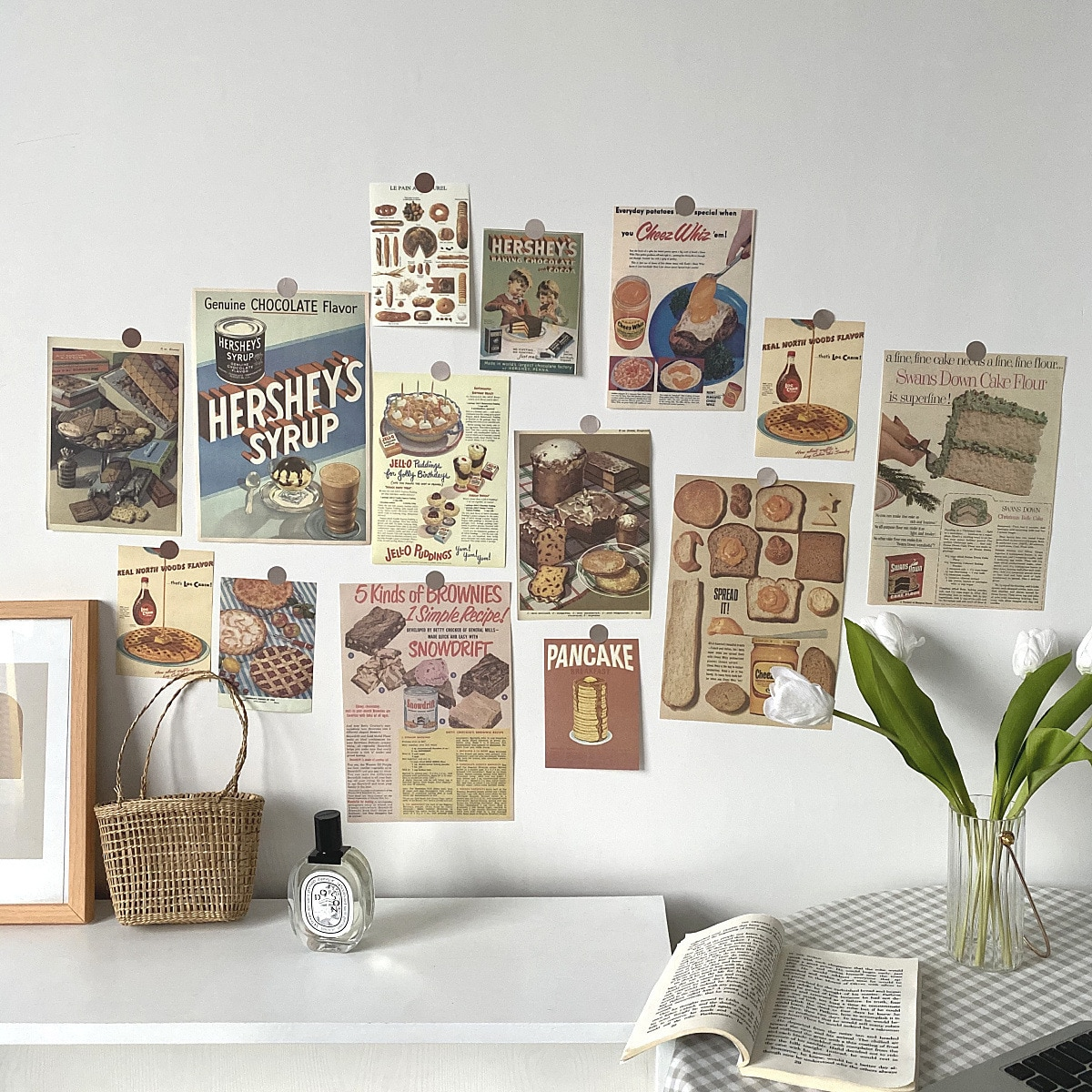 Ins Retro Poster Gourmet Bread Card 13 Sheets Photo Props Postcard Creative Collocation Background Wall Sticker Decorative Card