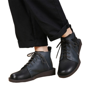 2018 VALLU Autumn Women Footwear Ankle Boots Genuine Leather Round Toes Lace Up Mixed Color Ladies Shoes Flat Boots