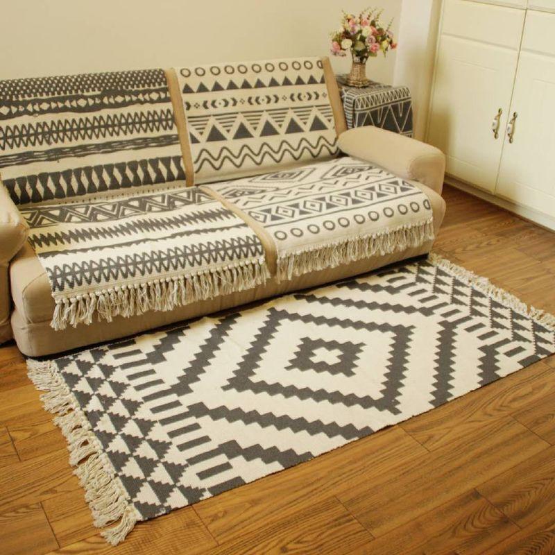 Хлопковый и льняной тканый ковер с кисточками, коврик для пола, дверной гобелен для спальни, декоративное одеяло для чая, гостиной, ковер, по...