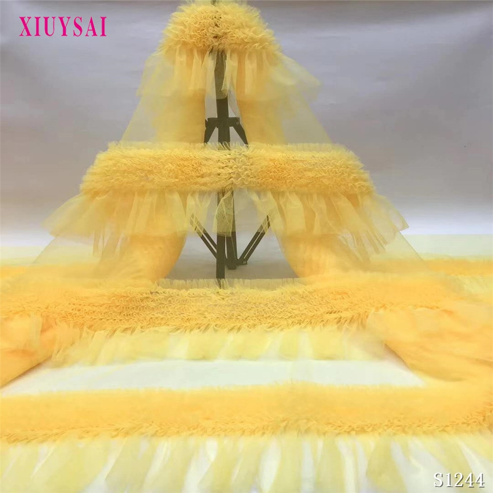 Latest African Lace Fabric 2020 High Quality French Net  Embroidery Yellow Tulle Lace Fabric For Nigerian Party Dress S1244