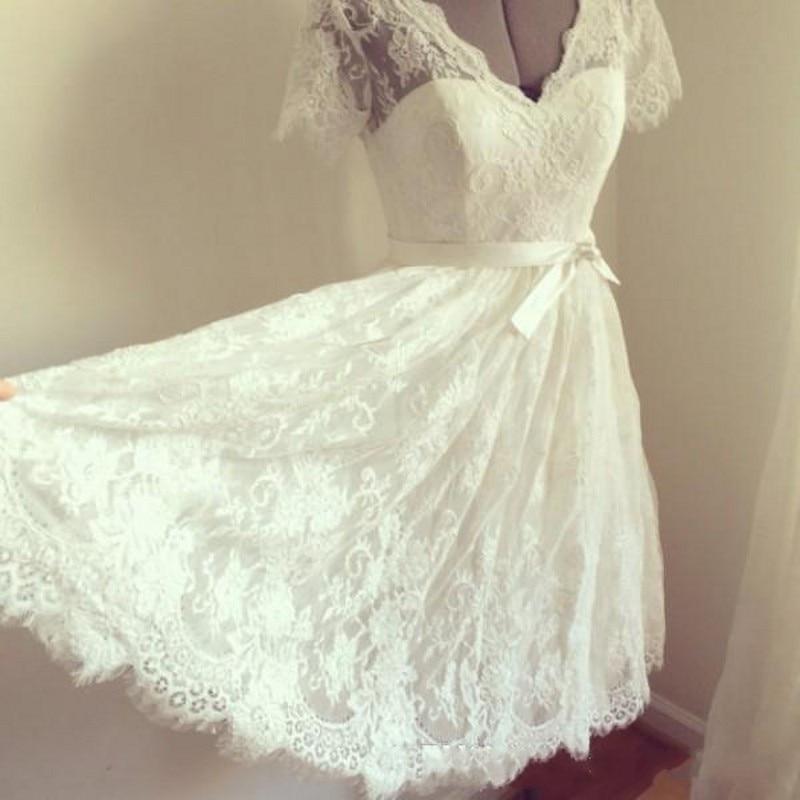 Elegant Lace A Line V-Neck Short Sleeve Short Wedding Dresses Plus Size With Sash Beach Boho Bridal Gowns Robe De Mariee
