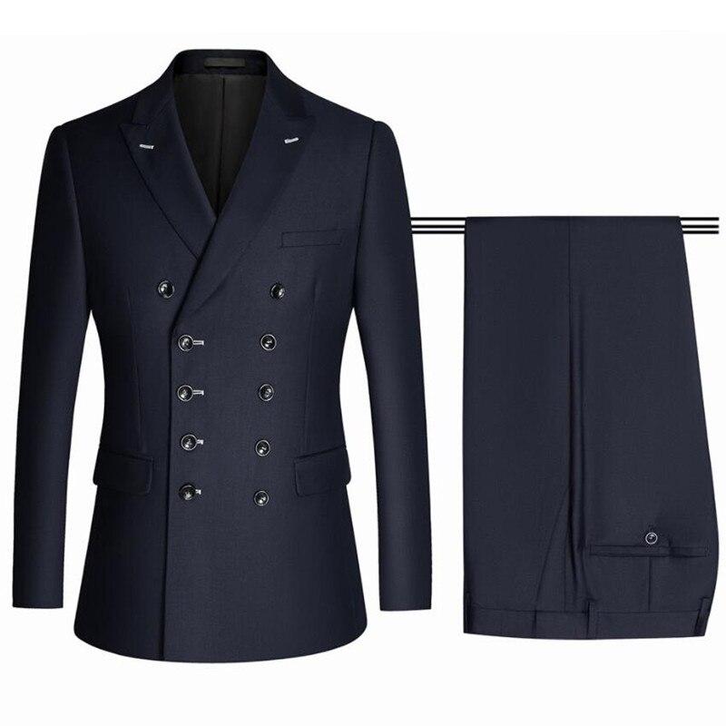 (جاكيتات + السراويل) الرجال مزدوجة الصدر سهرة/الربيع الذكور عالية الجودة بدلة عمل/الرجال سليم صالح مكتب فستان كاجوال 2 قطعة S-4XL