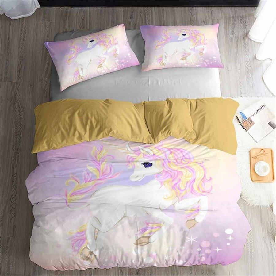 HELENGILI 3D Bedding Set Unicorn Print Duvet Cover Set Lifelike Bedclothes with Pillowcase Bed Set Home Textiles #DJS-80