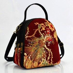 Fashion national embroidery women shopping handbags!Nice animal prints lady small shoulder&Crossbody bag multi-use canvas bag