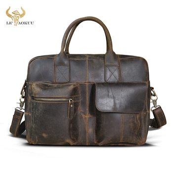Natural leather Men Vintage Handbag Business Briefcase Commercia Document Laptop Case Male Attache Portfolio Tote Bag b331