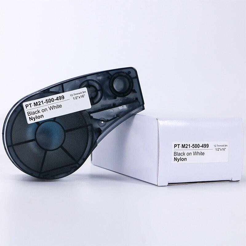 Cinta de etiquetas 20pk 6,35mm x 6,4 m Para Brady M21-250-595 cinta negra sobre Blanca película de vinilo Compatible Brady-BMP21-PLUS Brady-BMP21-LAB