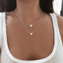 Collares joyería cadena multicapa corazón señora personalizada para chica Color plata moda collar Simple mujeres Kpop Collier