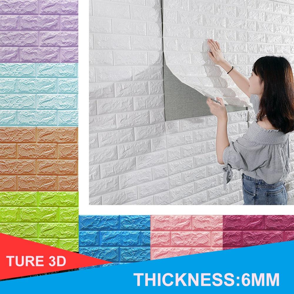 Pegatinas de pared 3D, decoración de pared de ladrillo de imitación, sala de autoadhesivo papel tapiz impermeable para estar, cocina, TV, decoración de fondo