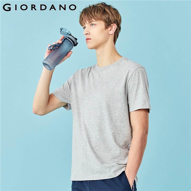 Giordano camisetas masculinas design sólido crewneck manga curta camisetas finas e macias de verão hombre 13020201