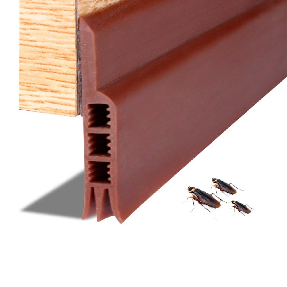 الصوتية الباب أسفل ختم سيليكون 3-Layer مشروع سدادة لاصقة عتبة الأختام 5 سنتيمتر X 91 سنتيمتر/120 سنتيمتر البني الأبيض