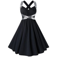 Mode robe à paillettes grande taille robe de soirée paillettes brillant croix sangle robe de pansement grande balançoire Pinup automne robes dété femmes