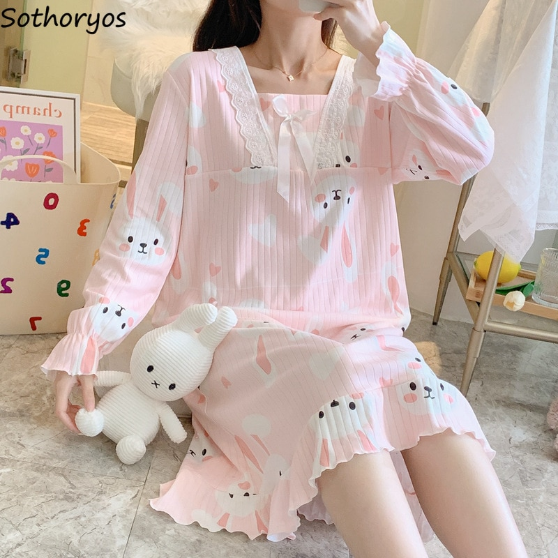 Women Nightgowns Long Sleeve Sleepshirts Cartoon Bow Elegant Ruffles Simple Chic Leisure Ins Modern Hot Sale Fall Princess Soft