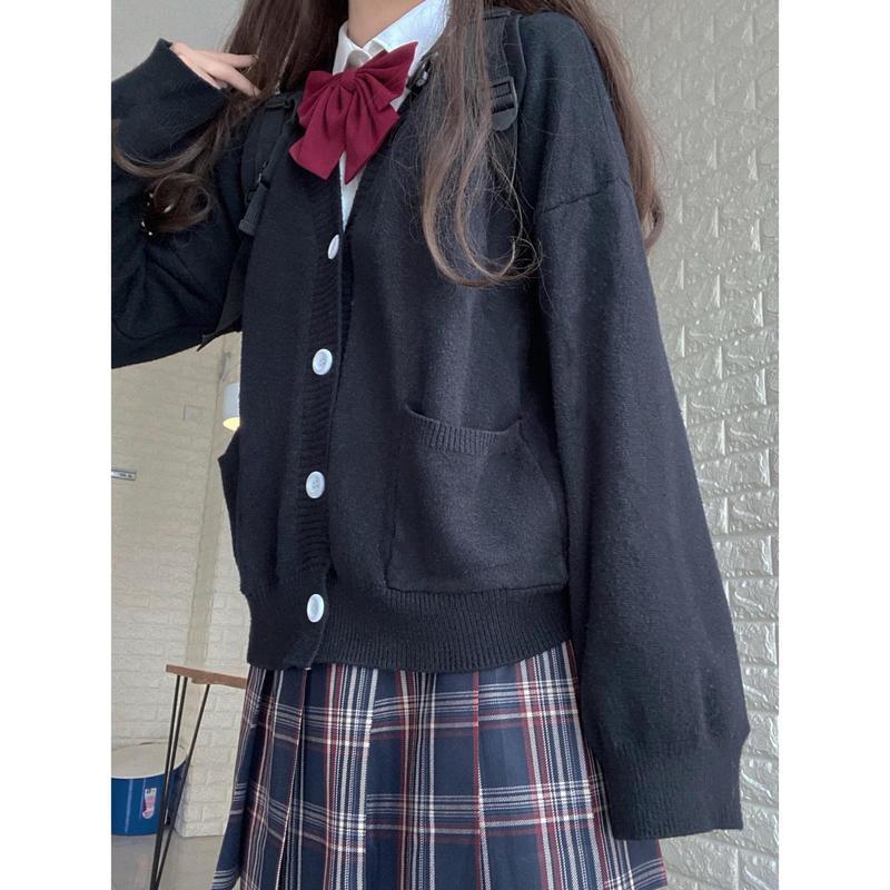 جاكت نسائي ياباني بياقة على شكل حرف v زي JK جاكت أنيق أنيق جاكت كارديجان نسائي للطالبات في المدارس والكليات