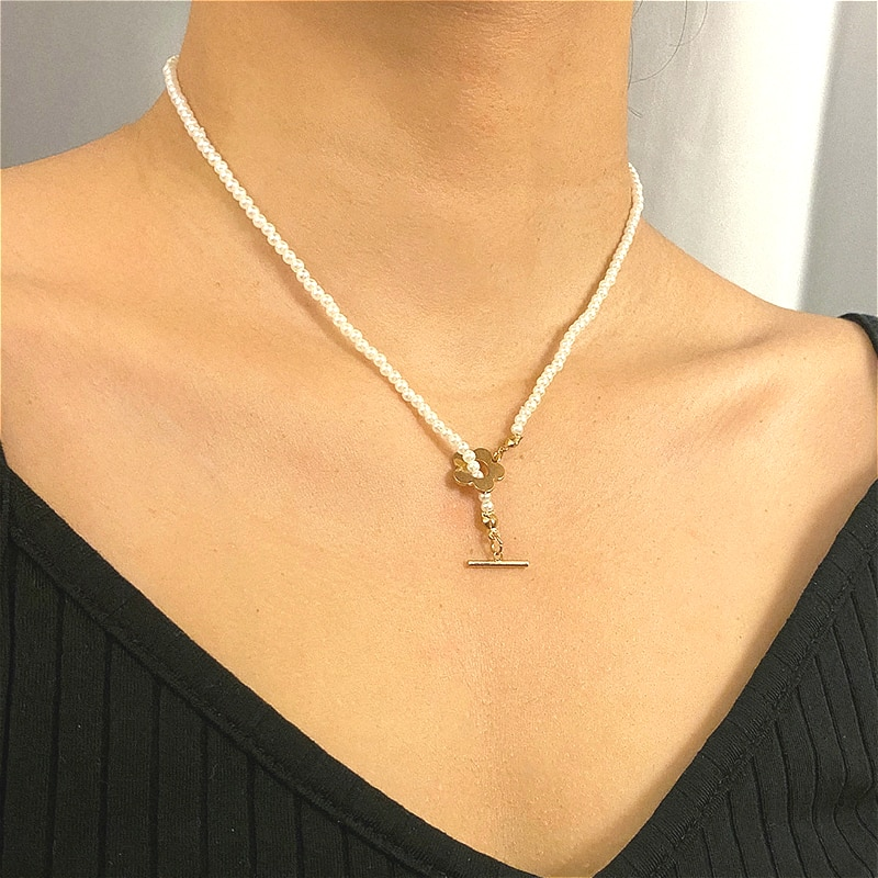 Trendy Beaded Simulated Pearl Necklace For Women Elegant Gold Color Flower Choker Necklaces Jewelry Accessories Collier Femme