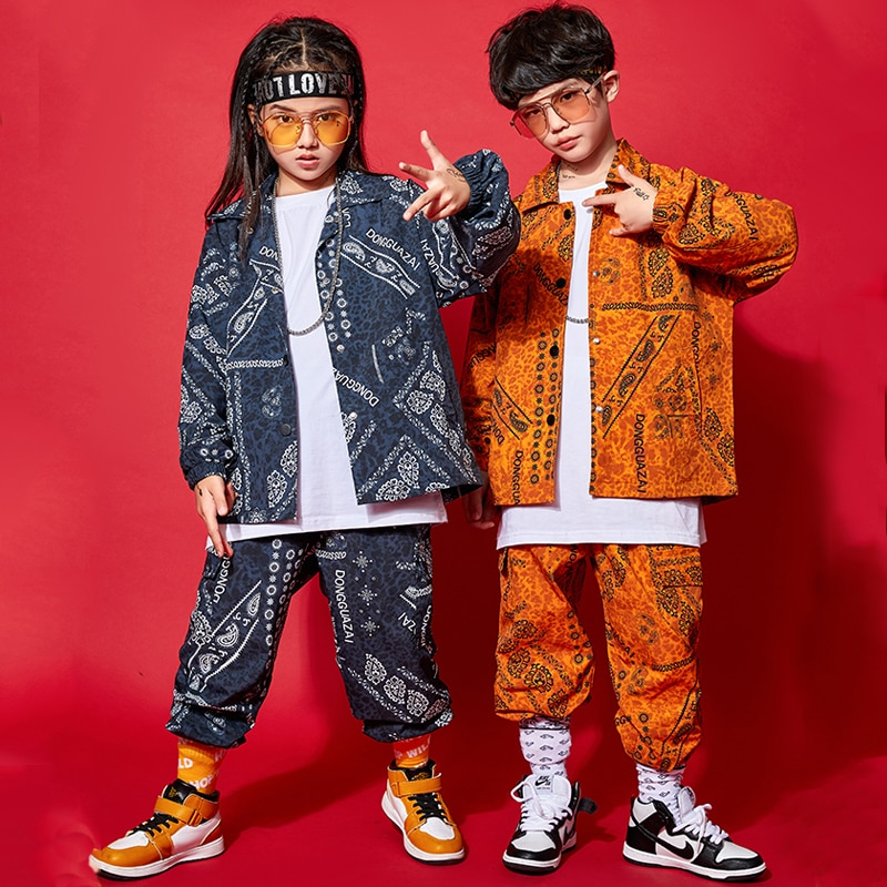 ملابس هيب هوب للأطفال ، كنزة مطبوعة عصرية ، بلايز وسراويل ، أكمام طويلة ، بدلات هيب هوب ، أزياء عرض الجاز ، زي المرحلة BL5373