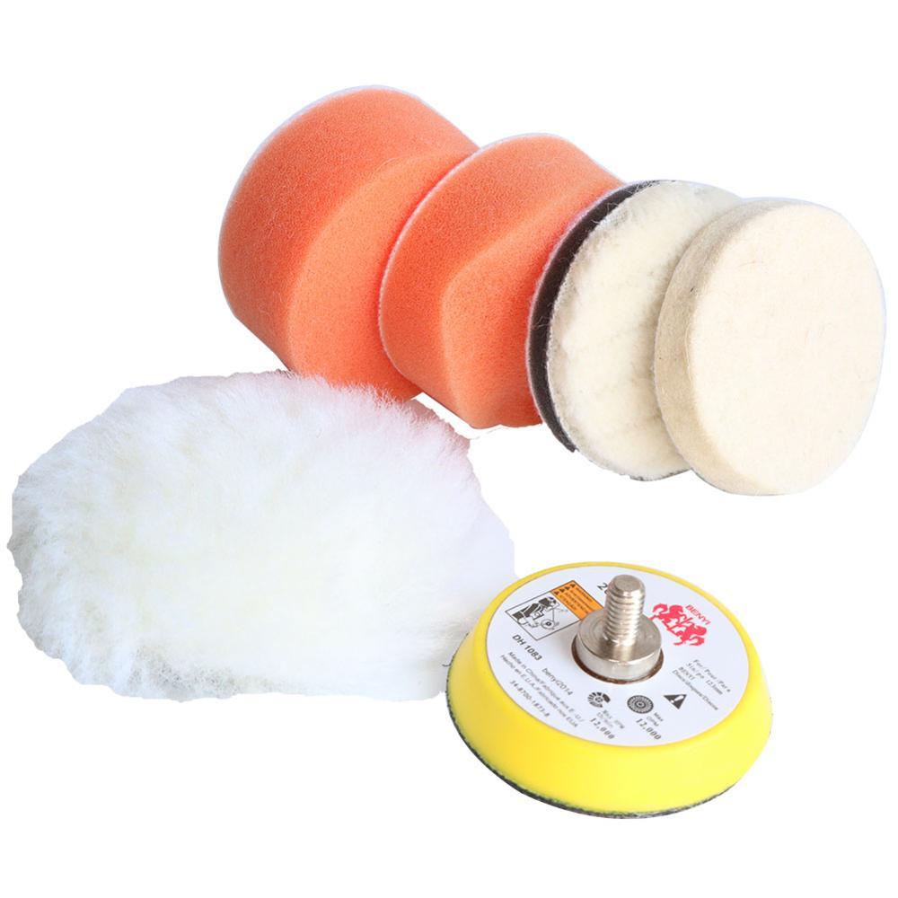 6 uds 2 pulgadas esponja de juego de almohadillas de pulido de almohadilla de pulido con cera M6 lavado de coches kit de limpieza para Mini lijadora de aire