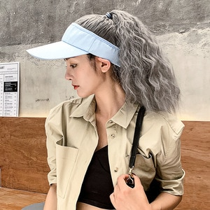 Hat Wig Hat Hair Extension Corn Hot Synthetic Hair High Ponytail Long Curly Hair Woman Headgear Fluffy Whole Wig  WWM01035