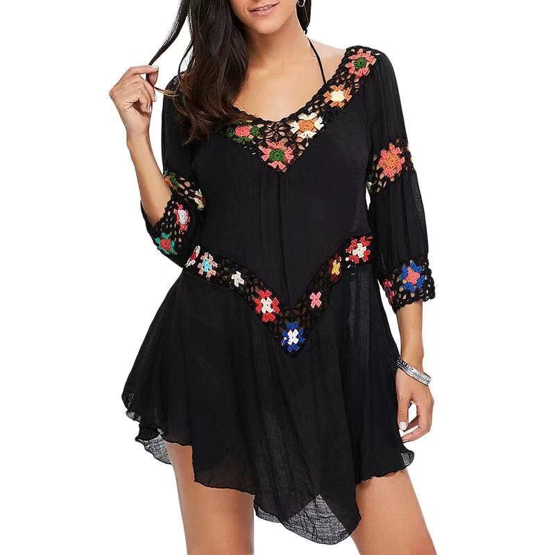 Пляжное платье-туника с цветочным принтом, полое крючком, туника, бикини, купальный костюм, женский халат, летняя пляжная туника, саронги