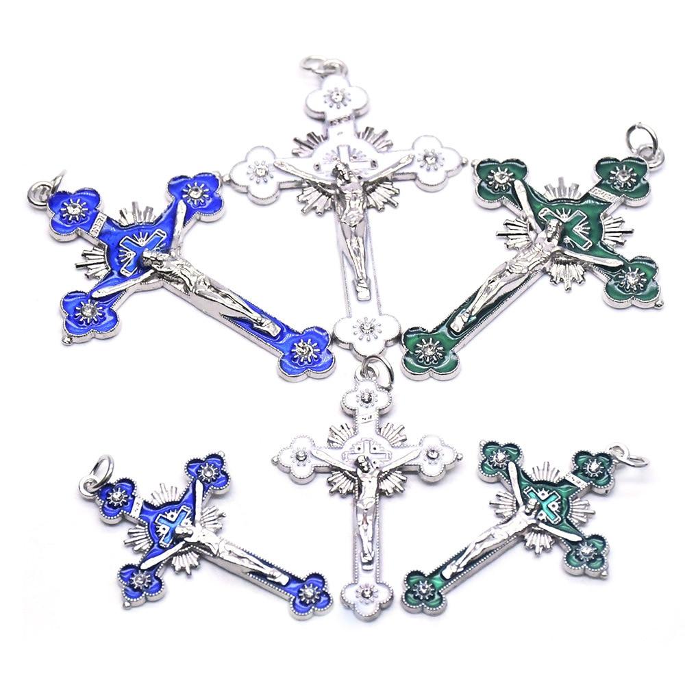 Qigo religioso jóias acessórios de metal esmalte cristo jesus cruz pingente verde azul branco