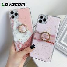 LOVECOM Geometrische Splice Finger Ring Telefon Fall Für iPhone 11 Pro Max XR X XS Max 7 8 6 Fall weiche Epoxy Gold Pulver Telefon Abdeckung