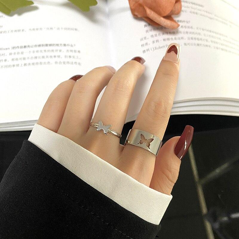 FAMSHIN Punk Silver Adjustable Butterfly Rings Set For Women Men Wedding Couple Open Rings Friendshi