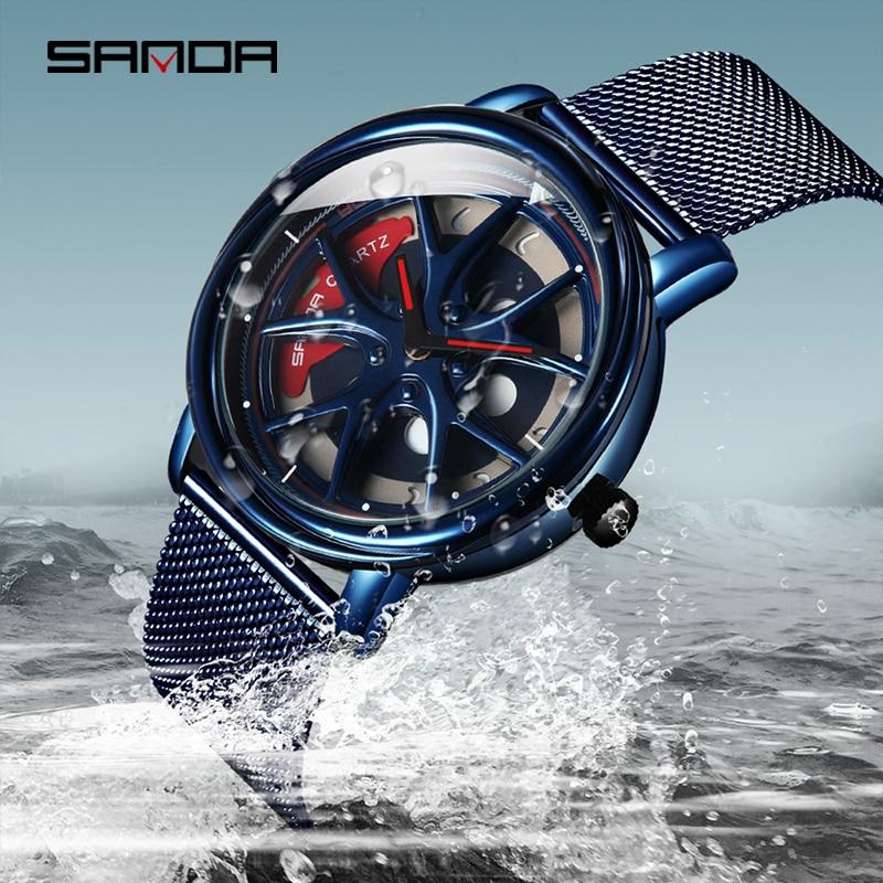 [360 ° Вращение] SANDA 2021 горячая распродажа мужские часы Изысканные гонки & Furious вращающийся циферблат кварцевые наручные часы подарки мужские ...