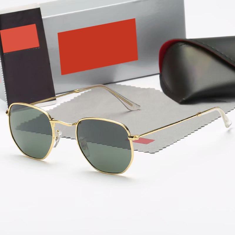 2021 Brand Designer Women  Sunglasses Square Polygon Sun Glasses Men Retro Shades Hexagon Metal Fram