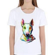 Summer women T Shirts Newest Fashion Bull Terrier Design Digital Painting T-Shirt Short Sleeve Tops Cool Tee dog clothes