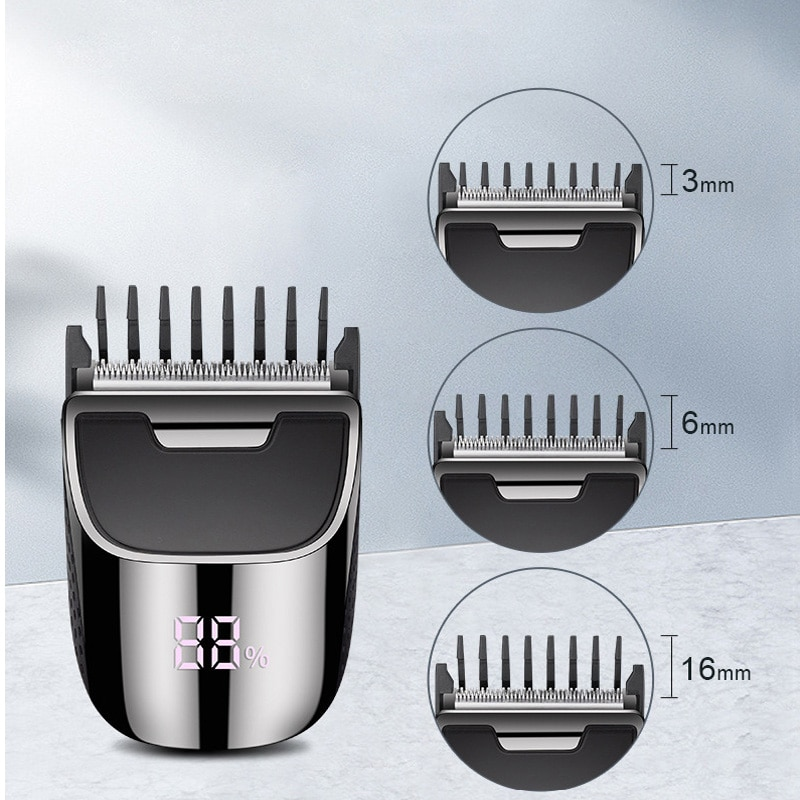 Electric Waterproof Cord Cordless Rechargeable LCD Display Fast Cutting Hairdress Self-Help Grooming Trimmer Hair Clipper enlarge