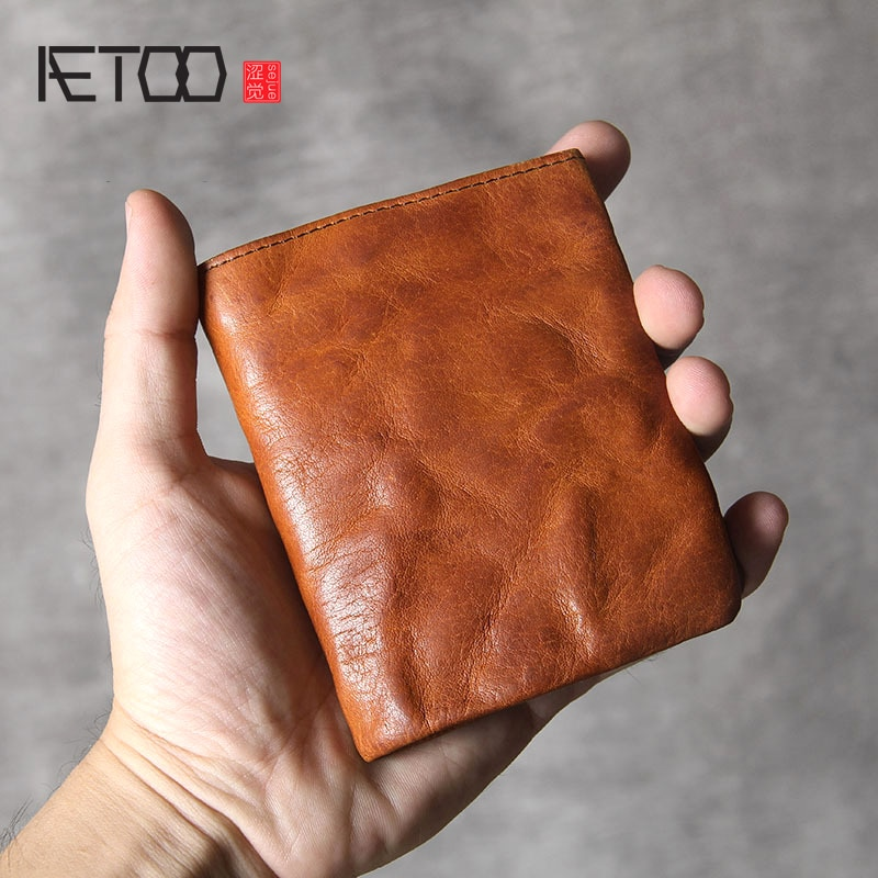 AETOO-محفظة صغيرة من جلد البقر للرجال والنساء ، محفظة صغيرة مصنوعة يدويًا ، مشابك رفيعة للغاية