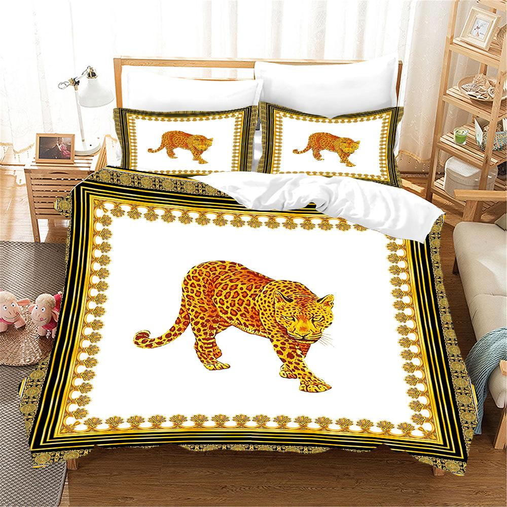 High-end Luxury Bedding Set French Italy Style Design King Queen Size Coffee Golden Color Pattern Print Home Use Duvet cover Set