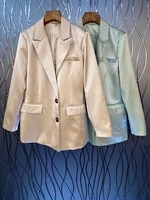 2021 new women fashion lapel symmetrical pocket decoration solid color long sleeved all match blazer 817