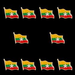 10 pçs mianmar liga de zinco bandeira nacional lapela pinos broche emblema