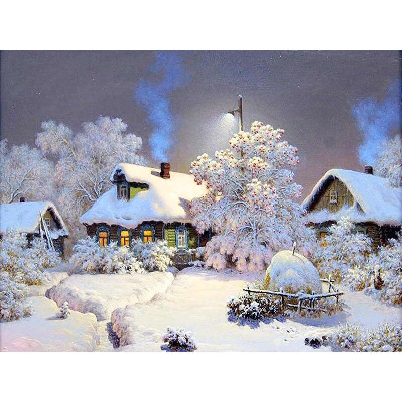 5D Diamond Painting Snow Scenery DIY Mosaic Winter Landscape House Full Round Drill Rhinestone Diamond Embroidery Cross Stitch