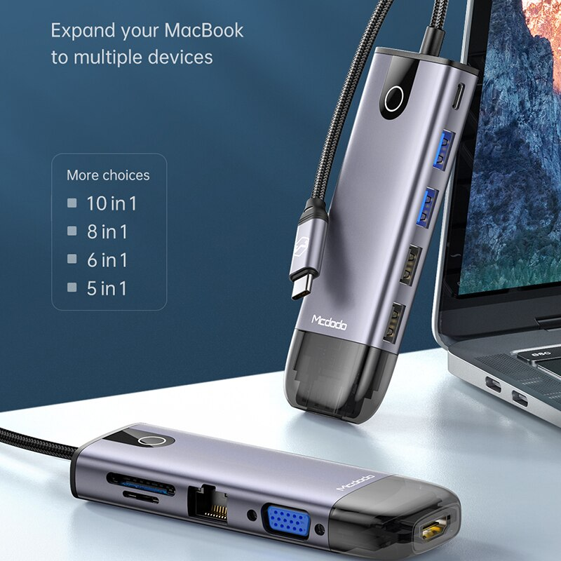 Macdo-محول USB من النوع C إلى متعدد USB 3.0 RJ45 HDMI VGA PD 100W ، لجهاز MacBook iPad Pro ، Huawei Mate 30 ، HUB