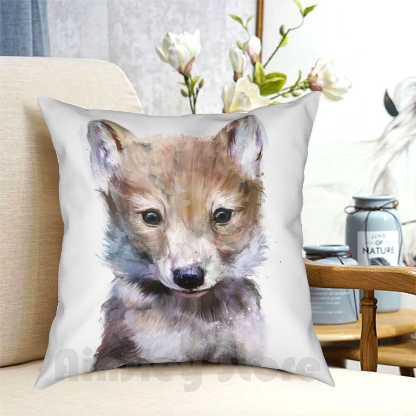 Funda de almohada con estampado de Pequeño Lobo para el hogar, suave...