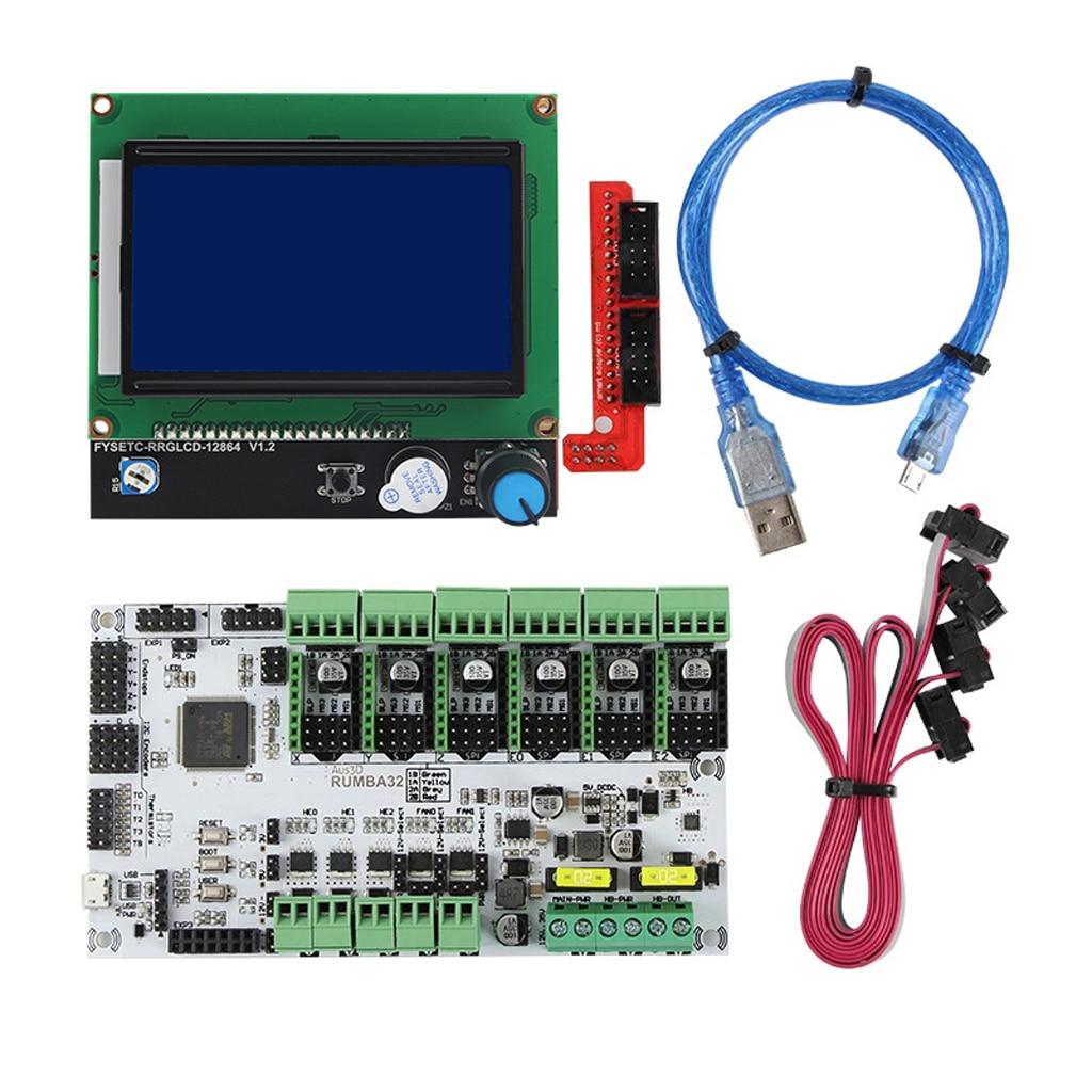 1 مجموعة لوحة تحكم RUMBA32 مع 12864 شاشة الكريستال السائل الشاشة Upgrade بها بنفسك ترقية عدة لملحقات طابعة ثلاثية الأبعاد