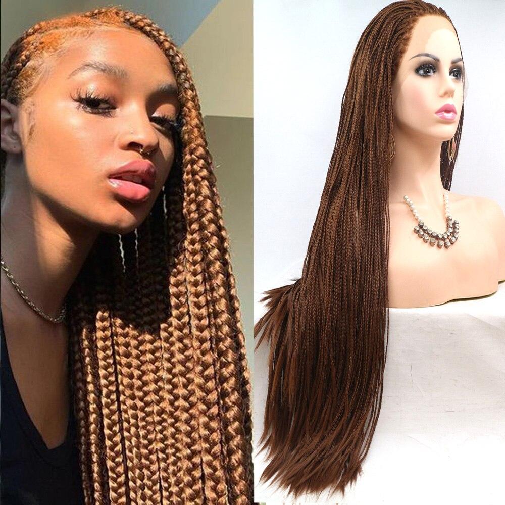 بني داكن اللون طويل الاصطناعية 13x4 عميق الدانتيل شعر مستعار أمامي صندوق مضفر للنساء طويل مضفر الاصطناعية ألياف مقاومة للحرارة